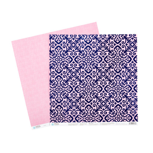 Martha Stewart Crafts - Modern Damask Collection - 12 x 12 Double Sided Paper with Foil Accents - Navy Flourish