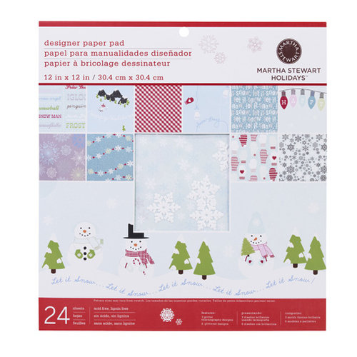 Martha Stewart Crafts - Christmas - 12 x 12 Designer Paper Pad - Winter Wonderland, BRAND NEW