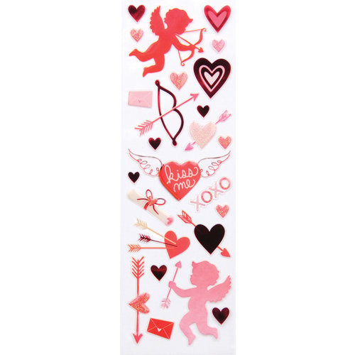 Martha Stewart Crafts - Valentine Collection - Epoxy Stickers with Glitter Accents - Cupid