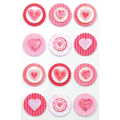 Martha Stewart Crafts - Valentine Collection - Layered Stickers with Epoxy Accents - Round Icon