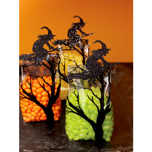 Martha Stewart Crafts - Halloween - Cellophane Treat Bags - Glittered Witch