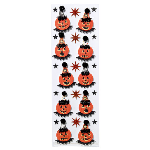 Martha Stewart Crafts - Halloween Collection - Layered Stickers with Glitter Accents - Carnival Pumpkin