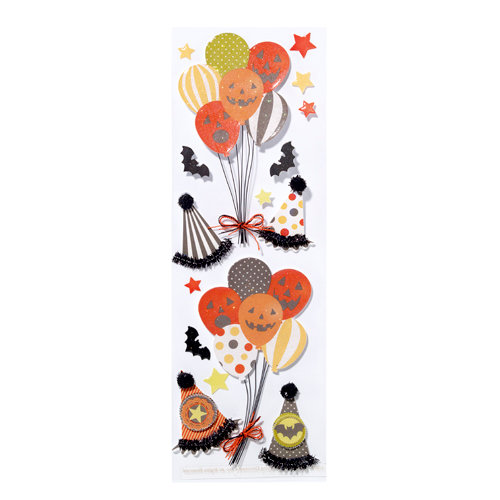 Martha Stewart Crafts - Halloween Collection - 3 Dimensional Stickers with Glitter Accents - Carnival Balloon