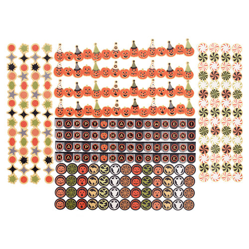 Martha Stewart Crafts - Halloween Collection - Die Cut Adhesive Borders with Glitter Accents - Carnival