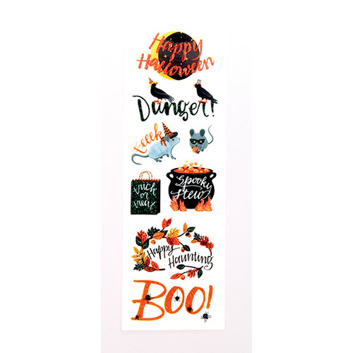Martha Stewart Crafts - Animal Masquerade Collection - Halloween - Layered Stickers with Glitter Accents- Phrases