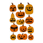 Martha Stewart Crafts - Animal Masquerade Collection - Halloween - Chipboard Stickers with Glitter Accents - Jack O Lanterns