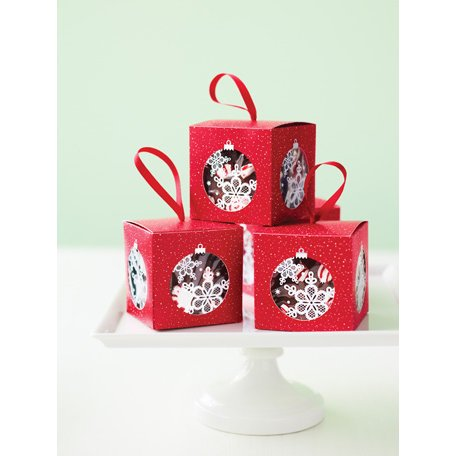 Martha Stewart Crafts - Snowflace Collection - Christmas - Ornament Treat Boxes