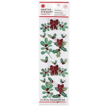 Martha Stewart Crafts - Woodland Collection - Christmas - Stickers - Holly and Mistletoe