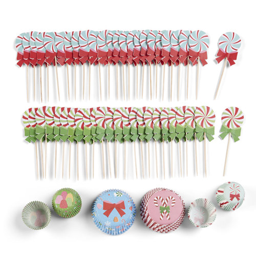 Martha Stewart Crafts - Wonderland Collection - Christmas - Cupcake Wrappers and Food Picks Kit