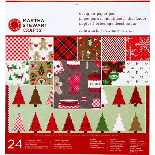 Martha Stewart Crafts - Cottage Christmas Collection - 12 x 12 Designer Paper Pad