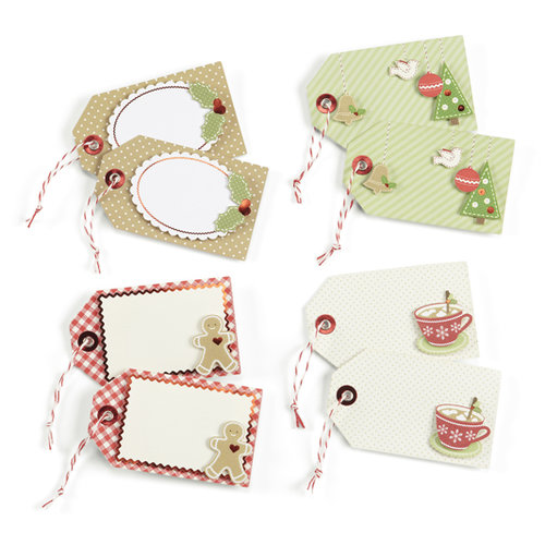 Martha Stewart Crafts - Cottage Christmas Collection - Premade Tags with Foil Accents