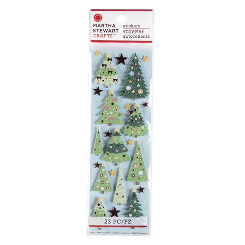 Martha Stewart Crafts - Wonderland Collection - Christmas - 3 Dimensional Stickers with Foil Accents - Tree