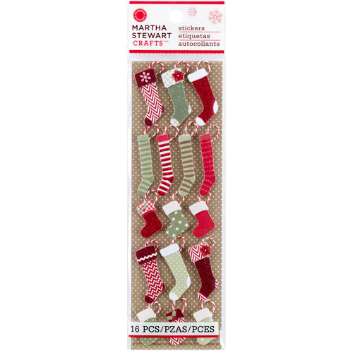 Martha Stewart Crafts - Cottage Christmas Collection - 3 Dimensional Stickers with Glitter Accents - Stocking