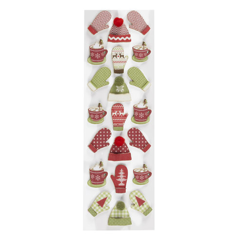 Martha Stewart Crafts - Cottage Christmas Collection - 3 Dimensional Stickers - Hat and Mitten