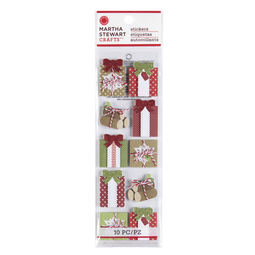 Martha Stewart Crafts - Cottage Christmas Collection - 3 Dimensional Stickers with Glitter Accents - Gift
