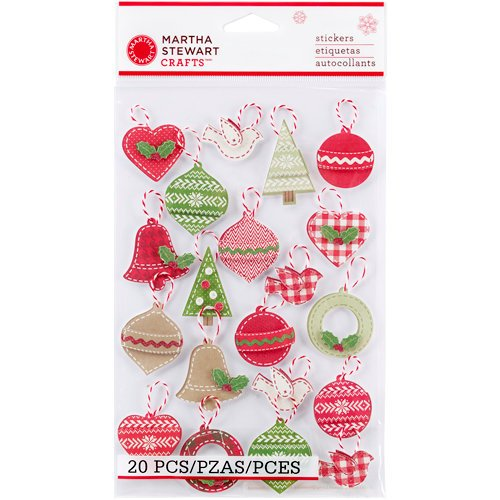 Martha Stewart Crafts - Cottage Christmas Collection - 3 Dimensional Stickers with Glitter Accents - Ornaments
