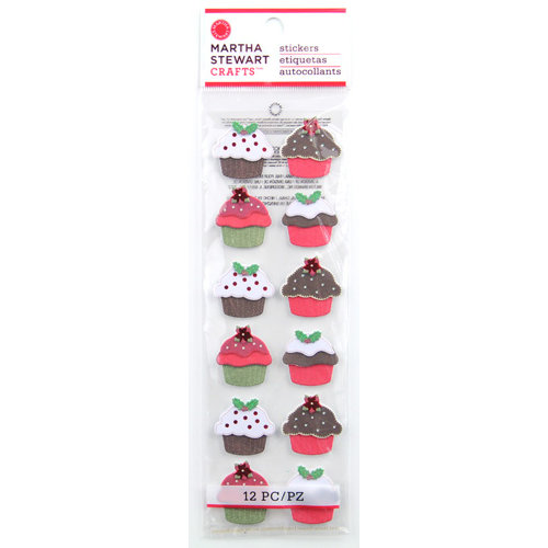 Martha Stewart Crafts - Cottage Christmas Collection - 3 Dimensional Stickers with Glitter Accents - Cupcakes
