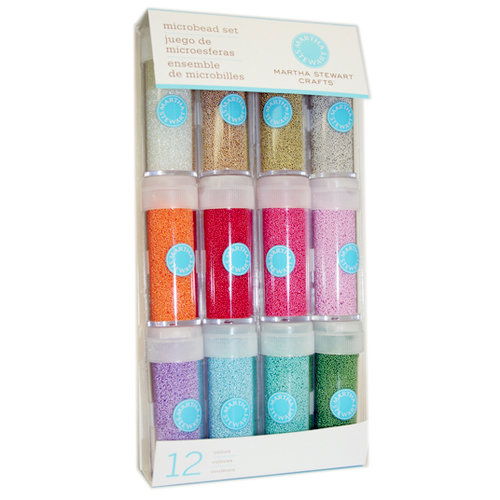 Martha Stewart Crafts - Glass Microbeads Embellishment Variety - 12 Piece Set