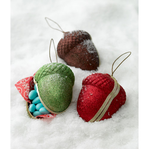 Martha Stewart Crafts - Holiday - Ornament Boxes - 3 Piece Set - Acorn, BRAND NEW
