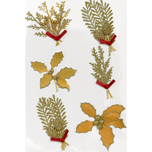 Martha Stewart Crafts - Holiday - 3 Dimensional Glitter and Embossed Stickers - Golden Sprig