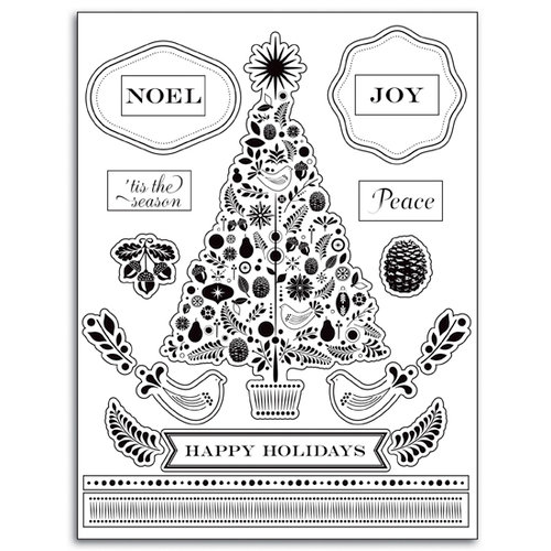 Martha Stewart Crafts - Holiday - Clear Acrylic Stamps - Christmas Tree