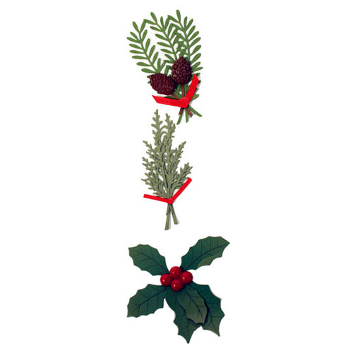 Martha Stewart Crafts - Holiday - Stickers - Traditional Holly and Sprig, CLEARANCE