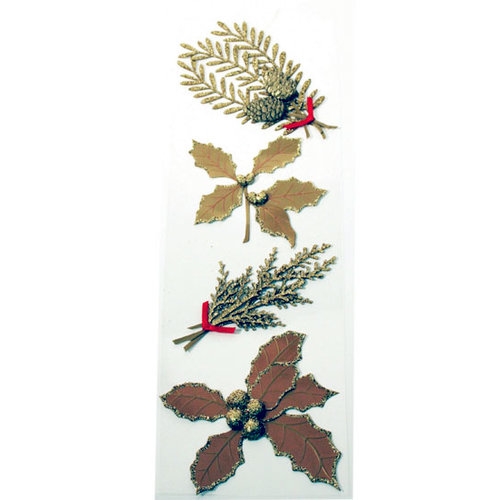 Martha Stewart Crafts - Holiday - Stickers - Golden Holly and Sprig