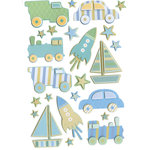 Martha Stewart Crafts - 3 Dimensional Glittered Stickers - Truck Car and Rocket, CLEARANCE