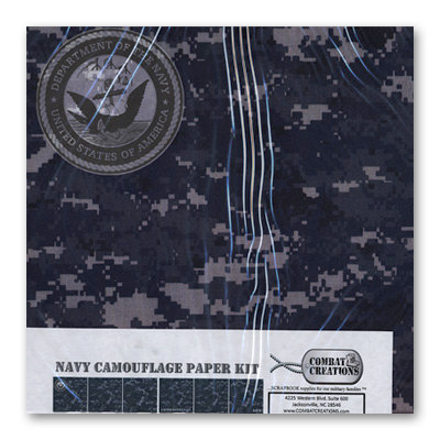 Combat Creations - Memories in Uniform - 12 x 12 Paper Kit - Navy Camouflage
