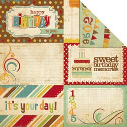 Memory Works - Simple Stories - Happy Day Collection - 12 x 12 Double Sided Paper - Journaling Card Elements 1