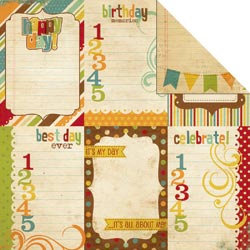 Simple Stories - Happy Day Collection - 12 x 12 Double Sided Paper - Vertical Journaling Card Elements