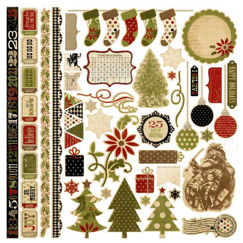 Memory Works - Simple Stories - 25 Days of Christmas Collection - 12 x 12 Cardstock Stickers - Fundamentals
