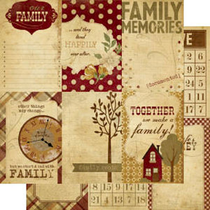 Memory Works - Simple Stories - Generations Collection - 12 x 12 Double Sided Paper - Vertical Journaling Card Elements