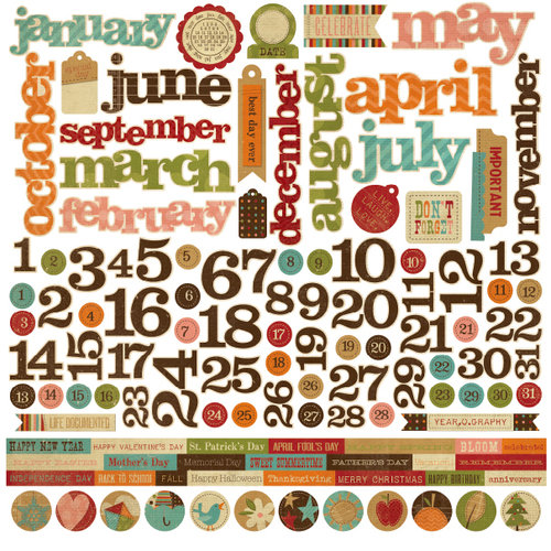 Simple Stories - Year-o-graphy Collection - 12 x 12 Cardstock Stickers - Calendar