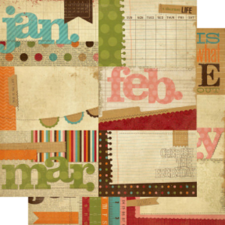 Simple Stories - Year-o-graphy Collection - 12 x 12 Double Sided Paper - Journaling Card Elements 1