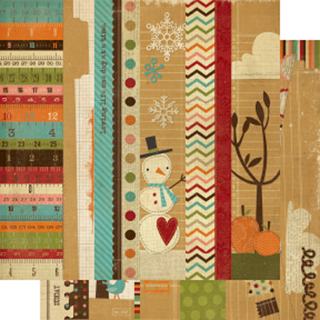 Simple Stories - Year-o-graphy Collection - 12 x 12 Double Sided Paper - Border and Title Strip Elements