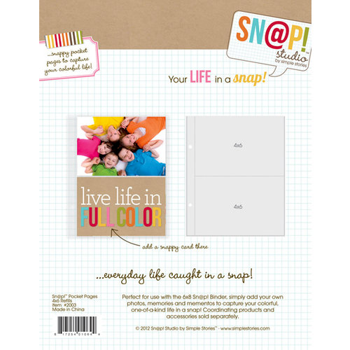 Simple Stories - SNAP Studio Collection - 4 x 6 Divided Page Protectors - 10 Pack