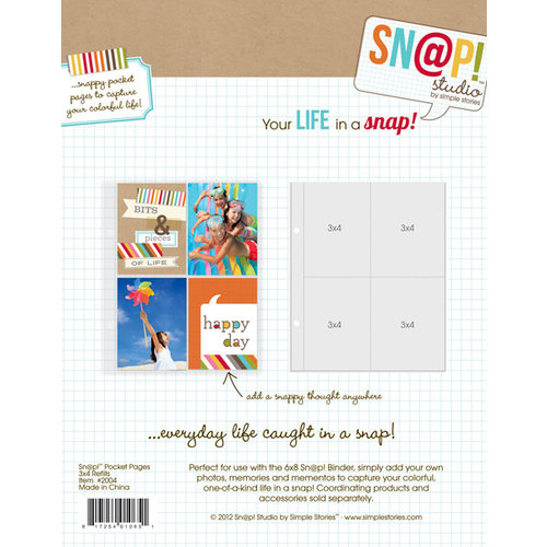 Simple Stories - SNAP Studio Collection - 3 x 4 Divided Page Protectors - 10 Pack