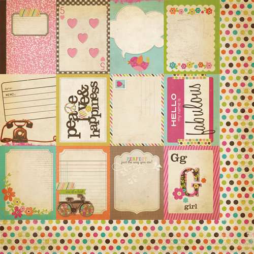 Simple Stories - Fab-U-lous Collection - 12 x 12 Double Sided Paper - Flash Cards