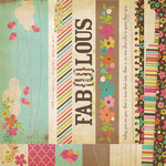 Simple Stories - Fab-U-lous Collection - 12 x 12 Double Sided Paper - Border and Title Strip Elements