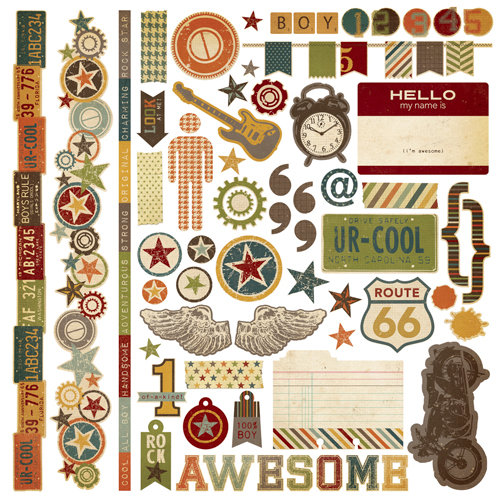 Simple Stories - Awesome Collection - 12 x 12 Cardstock Stickers - Fundamentals