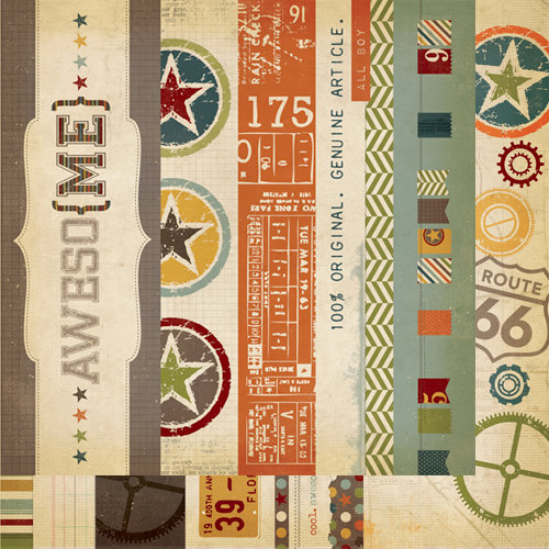 Simple Stories - Awesome Collection - 12 x 12 Double Sided Paper - Border and Title Strip Elements