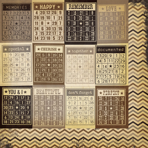 Simple Stories - Documented Collection - 12 x 12 Double Sided Paper - Mini Bingo Cards