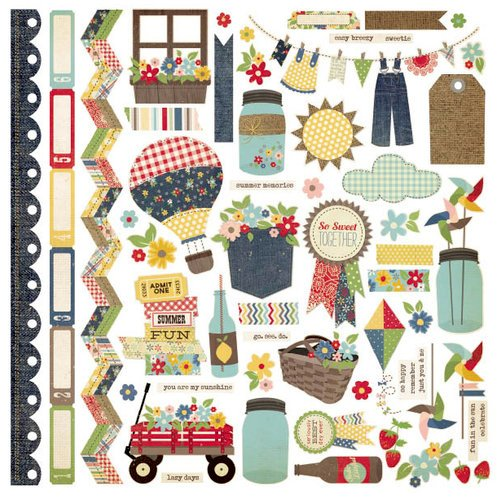 Simple Stories - Summer Fresh Collection - 12 x 12 Cardstock Stickers - Fundamentals