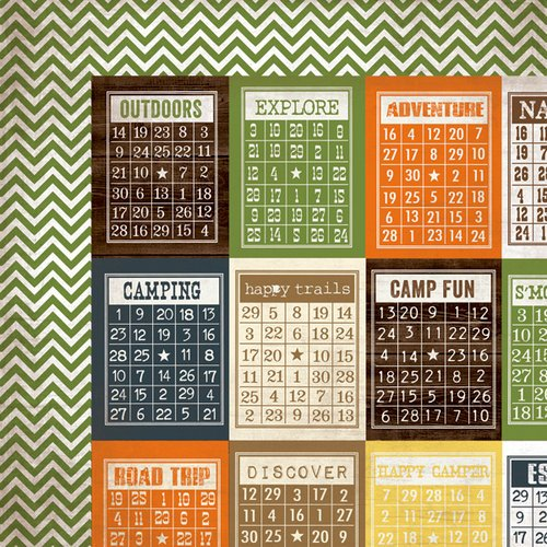 Simple Stories - Take a Hike Collection - 12 x 12 Double Sided Paper - Bingo Cards