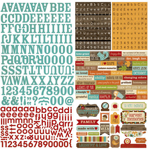 Simple Stories - Harvest Lane Collection - 12 x 12 Cardstock Stickers - Expressions