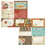 Simple Stories - Harvest Lane Collection - 12 x 12 Double Sided Paper - Journaling Card Elements 1