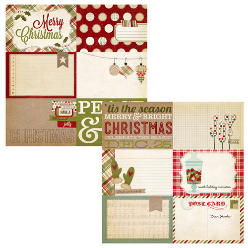 Simple Stories - Handmade Holiday Collection - Christmas - 12 x 12 Double Sided Paper - Journaling Card Elements 1