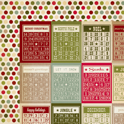 Simple Stories - Handmade Holiday Collection - Christmas - 12 x 12 Double Sided Paper - Bingo Cards