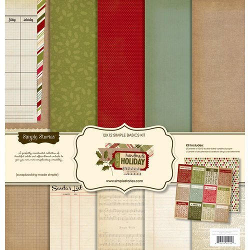 Simple Stories - Handmade Holiday Collection - Christmas - 12 x 12 Simple Basics Kit